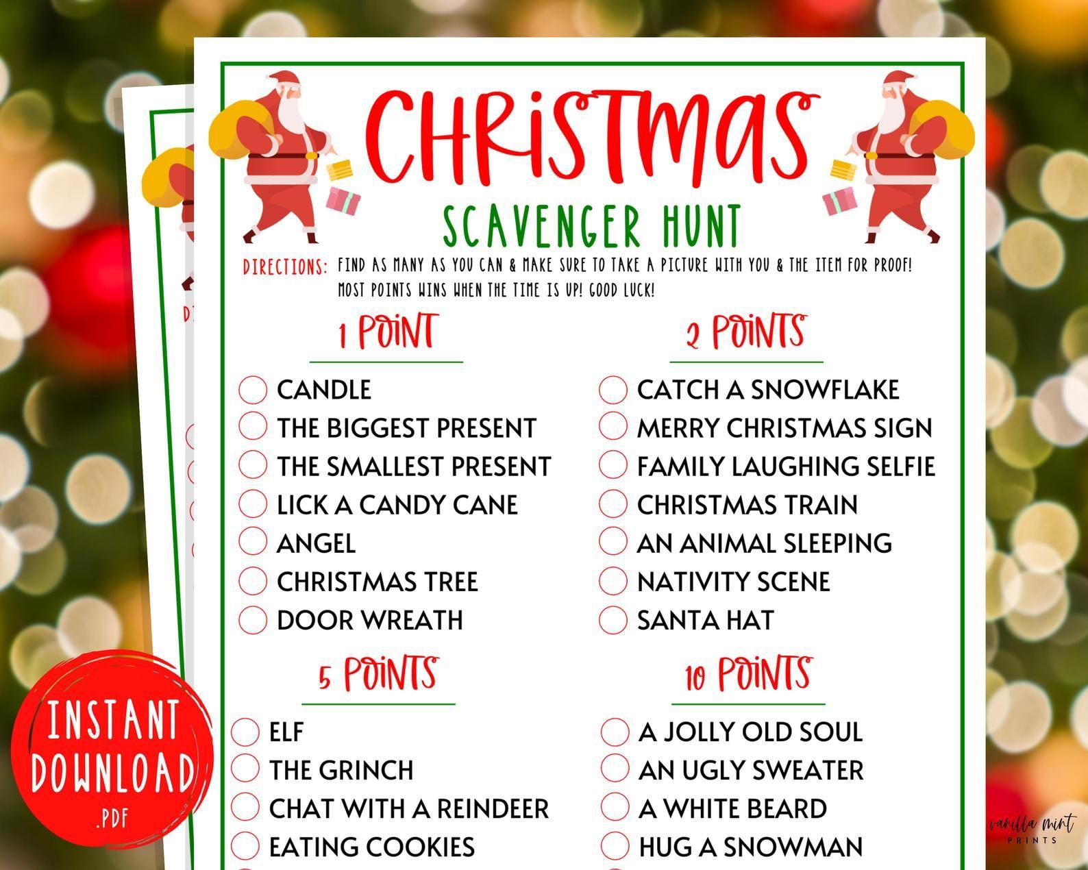 Christmas Scavenger Hunt Game Christmas Printable Games
