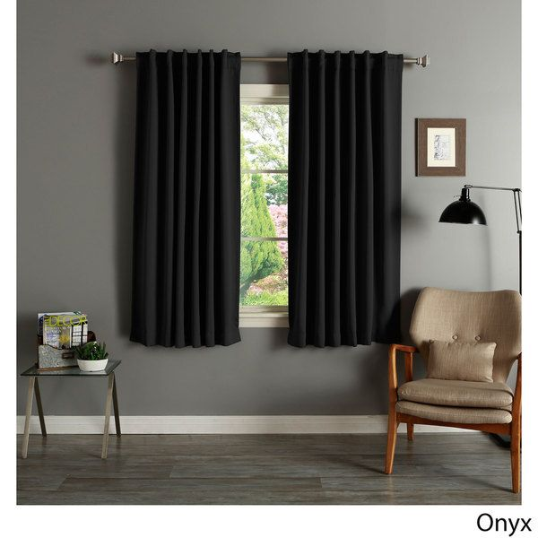 Aurora Home Solid Insulated Thermal Blackout 63-inch Curtain Panel ...
