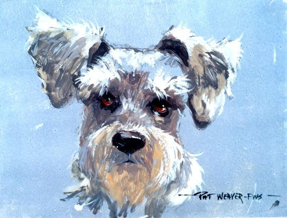 Schnauzer Drawing Easy: SCHNAUZER Original Watercolor Painting On Yupo