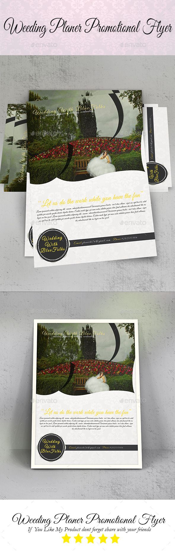 Wedding Planer Promotional Flyer — Photoshop Psd #modern #pink • Available  Here