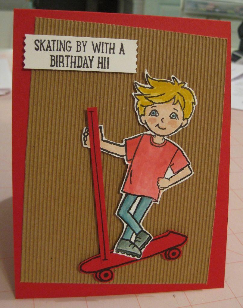 Red Scooter Birthday Card Su Skating By Kids Boys Birthday