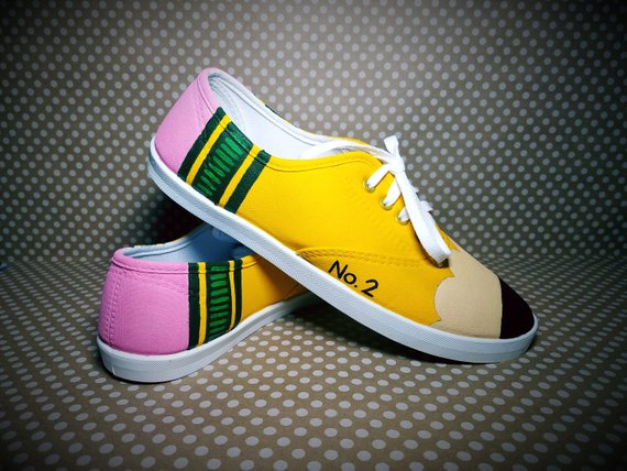 07578a396c3a7 Hand Painted Pencil Shoes - Custom for Teacher appreciation gifts or ...