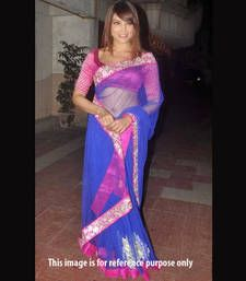 Buy Blue embroidered net saree with blouse with blouse bollywood-saree online