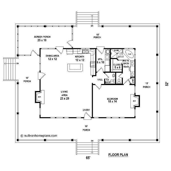 Floor Plan First Story In 2019 One Bedroom House 1 Bedroom House Country Style House Plans