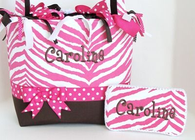 Hot Pink Zebra Brown Personalized Diaper Bag Monogrammed Custom Boutique Baby