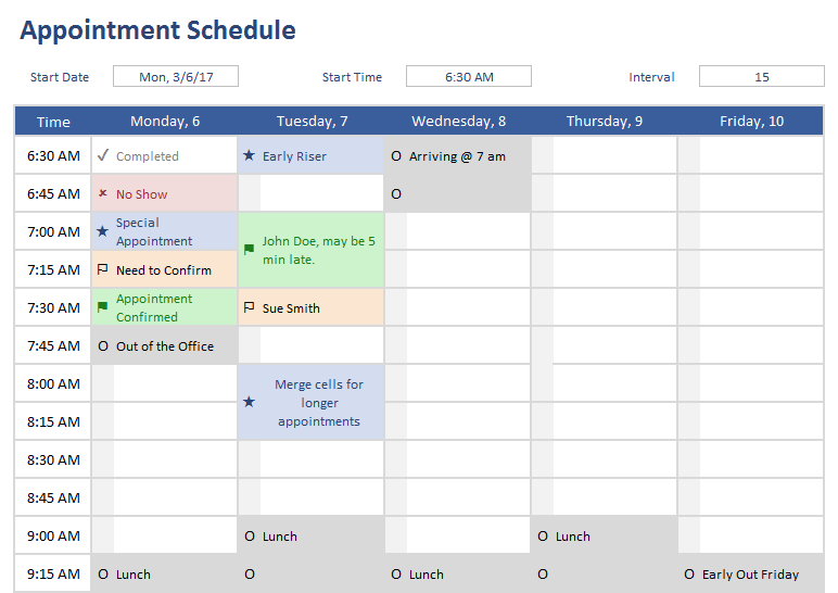 appointment schedule templates