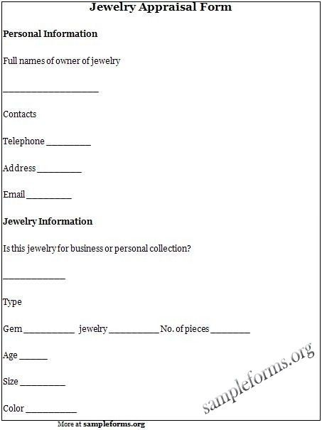 Jewelry Appraisal Form Jewelry Sample Form  Sample Forms