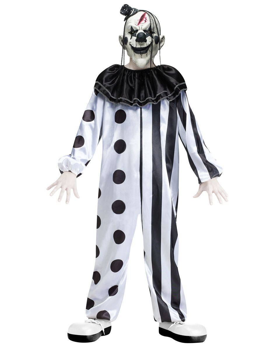 black and white killer clown child costume - Halloween Black And White