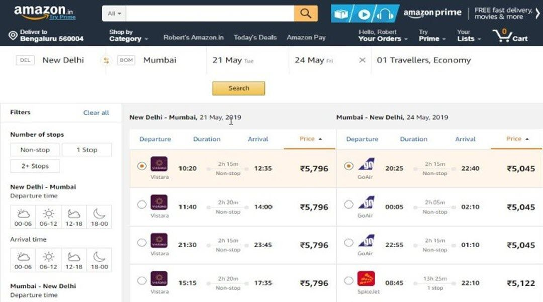 Amazon quietly introduces flight bookings for users in