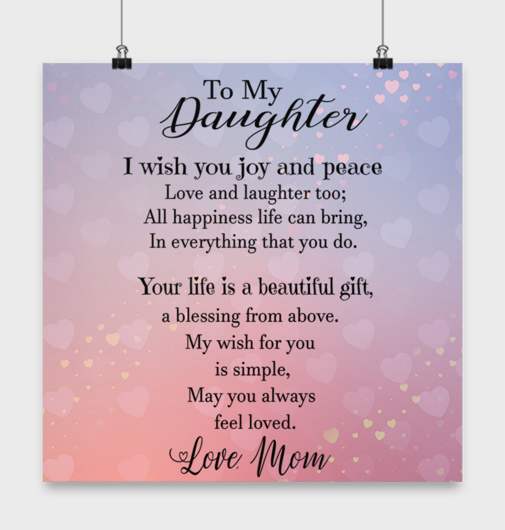 Loving mother to daughter quote poster  Birthday wishes for