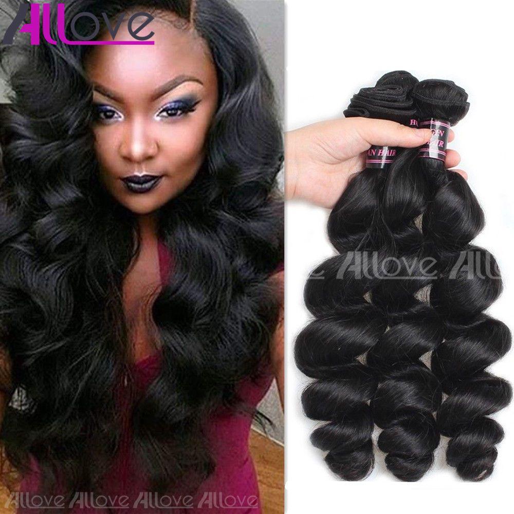 Allove 100 Peruvian Virgin Loose Wave Human Hair Bundles Weave Hair