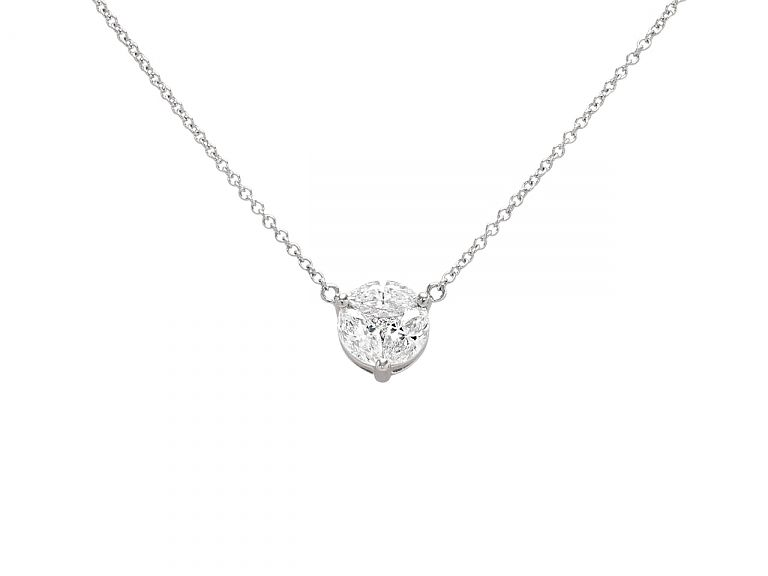 Diamond Pendant in 18K White Gold  The disc set with a trio of marquise-cut diamonds bordering a single round-cut diamond, to a fine link chain, in 18k white gold.  #whitegold #gold #pendant #diamond #necklace #beladora