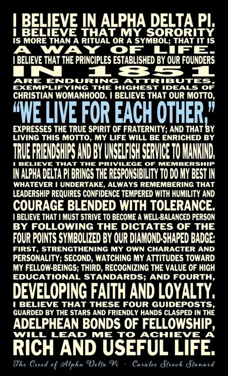 The Beautiful Creed I Live By As An Alpha Delta Pi Forever
