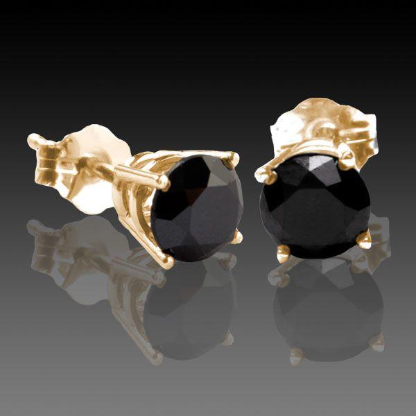 Black Diamond Stud Earrings 1 2 Carat Total Weight 4 G Basket In 14k Yellow Gold