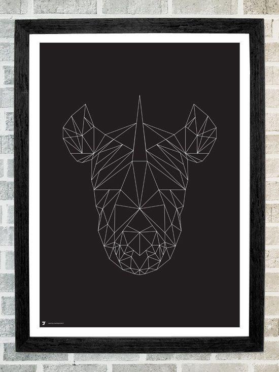 Rhino head triangles print 11 X 16. $19.99, via Etsy ...