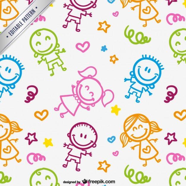 Patrón de niños dibujados Vector Gratis   Clipart   Drawing for kids ...