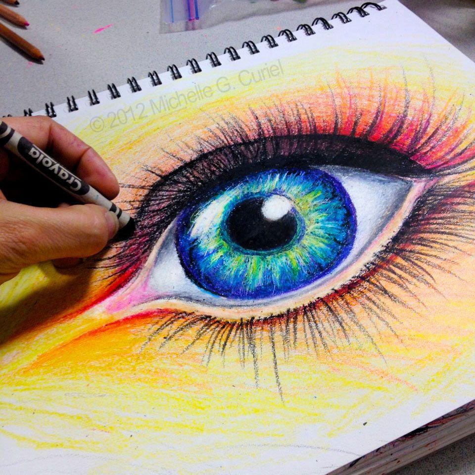 Crayola Eye Original Art 9x12 With 11x14 Mat By Michellecuriel 99 99 Eye Art Amazing Art Eye Drawing