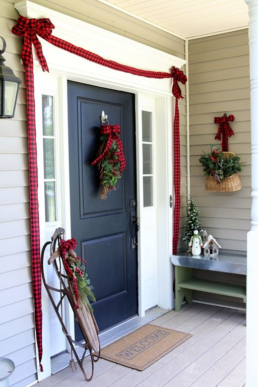 Simple Christmas Front Door Ideas Front Door Christmas