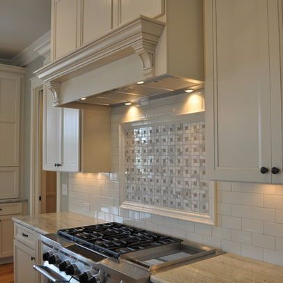 Tile Accent Above Cooktop Houzz Kitchen White Granite