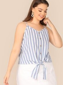 Plus Button Tie Front Striped Cami Top 5.00 USD #stripedcamitops Plus Button Tie Front Striped Cami Top 5.00 USD #stripedcamitops