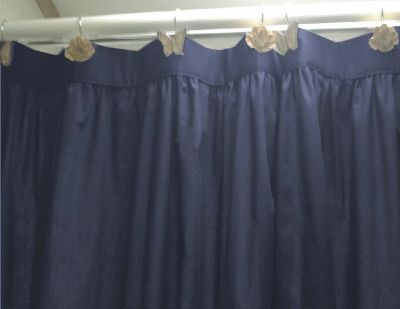 Solid Navy Blue Fabric Shower Curtain
