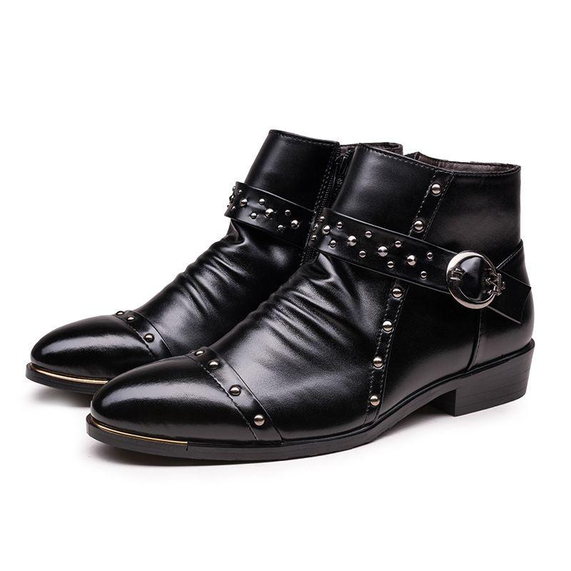 Leather Men High Fashion Pointed Martin Autumn