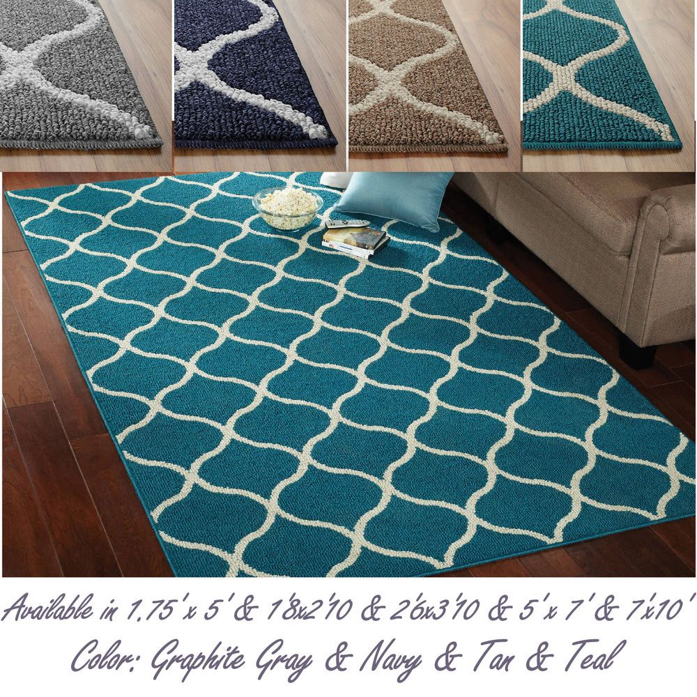 Attractive Abstract Tile Area Or Runner Rug Geometric Carpet Gray Navy Tan Teal In Home Garden Rugs Carpets Area Rugs Ebay Geometric Carpet