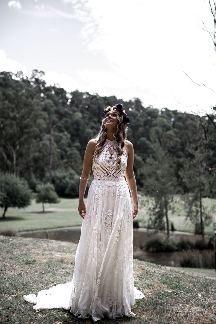 Bohemian wedding boho bride brides gown wedding dress wedding gown