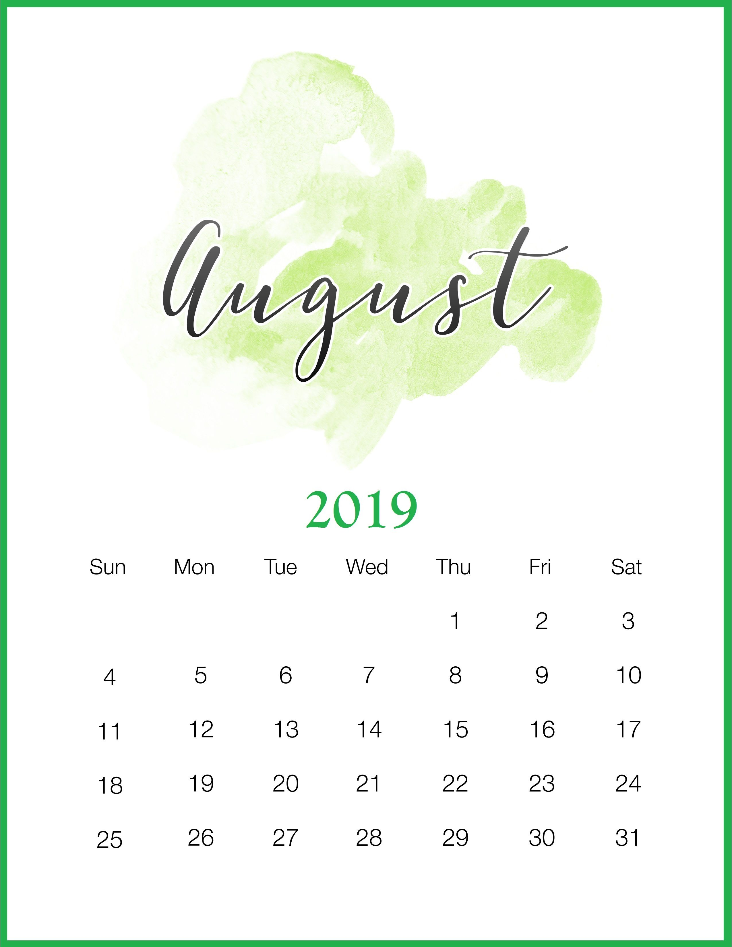 Watercolor August Printable Calendar