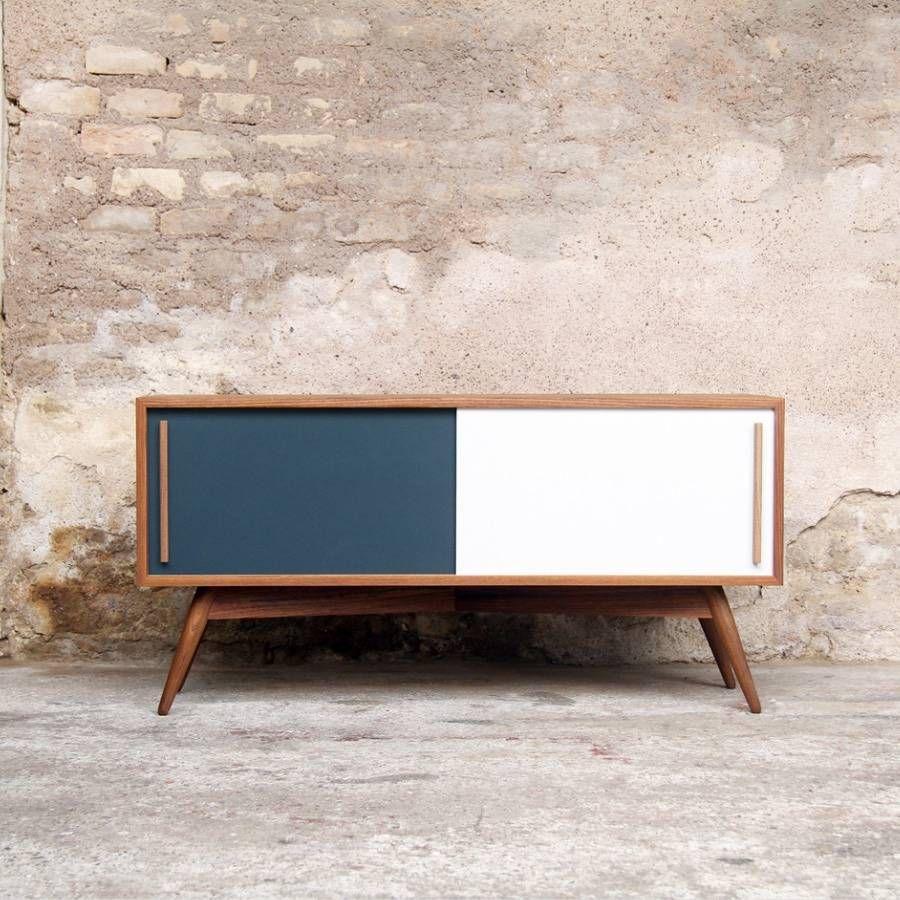 Meuble Tv 120 Esprit Vintage En Teck Un Projet De Cleme Meuble Tv Teck Meuble Tv Mobilier De Salon