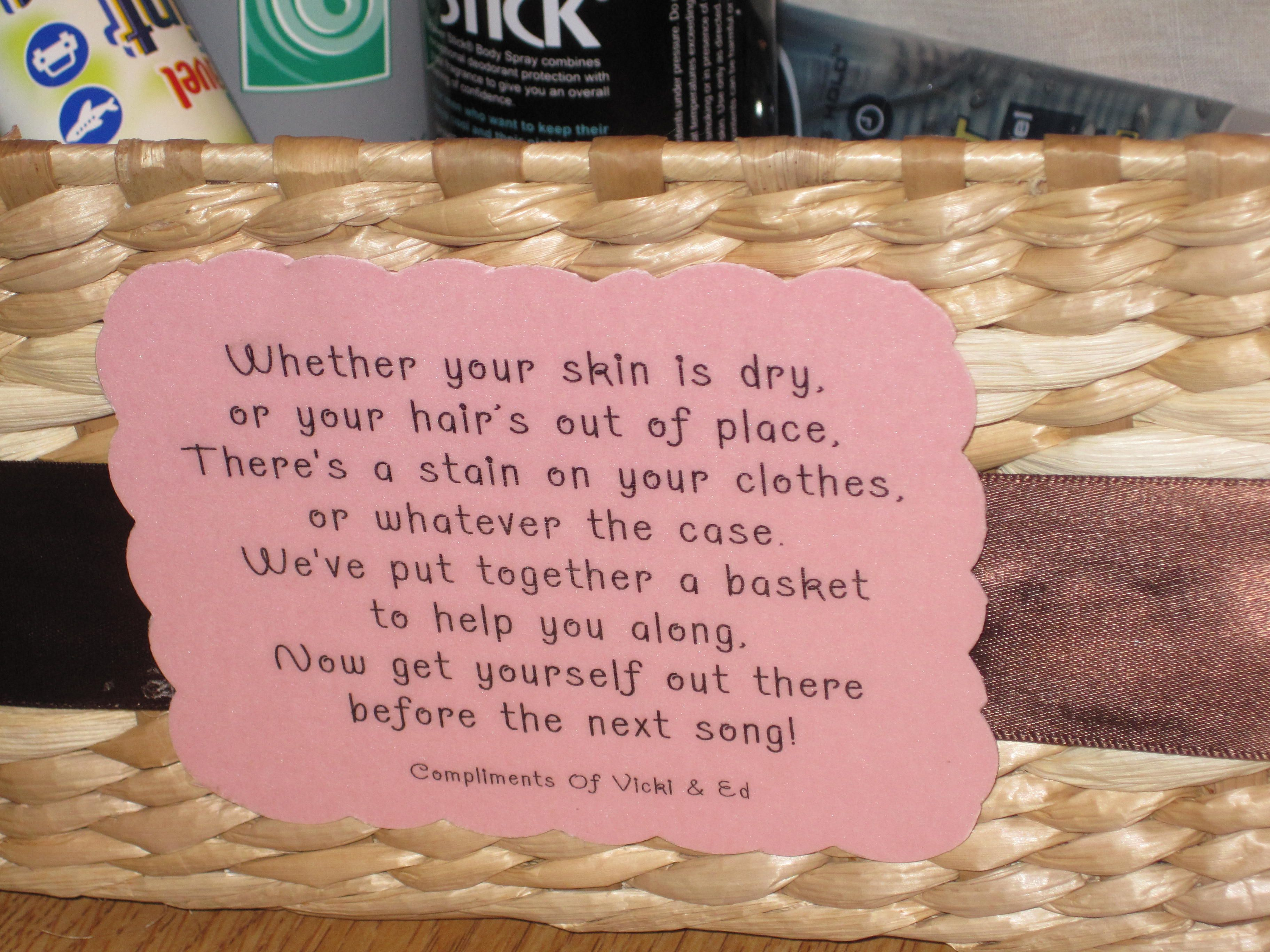 Wedding Bathroom Basket Poem Wedding Reception Ideas