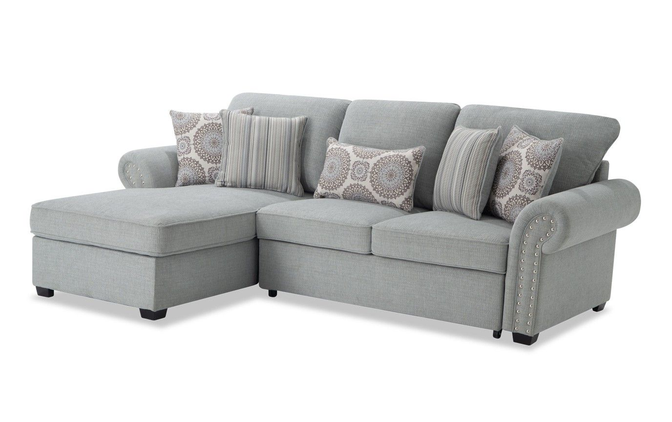 Playroom Artisan Blue Right Arm Facing Sectional Bobs Furniture Living Room Living Room Playroom Sectional