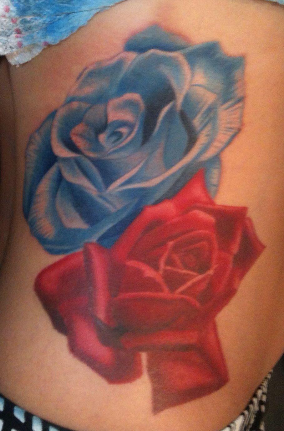 My Red And Blue Rose Tattoos Blue Rose Tattoos Flower Artwork Rose Tattoos