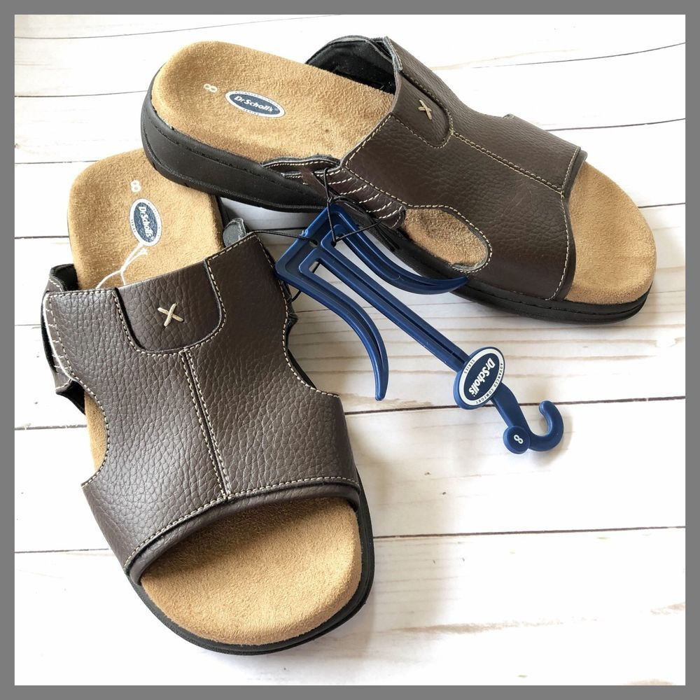 cdf20f657919 Dr. Scholl s Mens Brown Leather Slide Slip On Comfort Sandal Size US 8  EUR  40.5  fashion  clothing  shoes  accessories  mensshoes  sandals (ebay link)