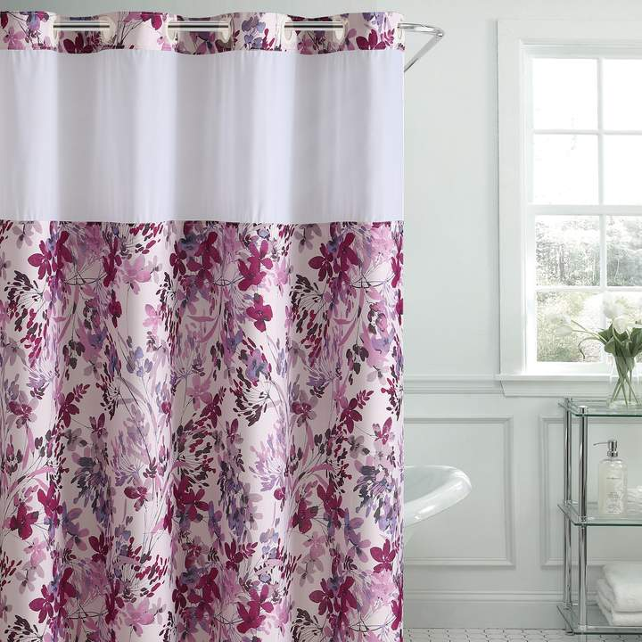 Hookless Watercolor Floral Shower Curtain With Liner Aqua Blue