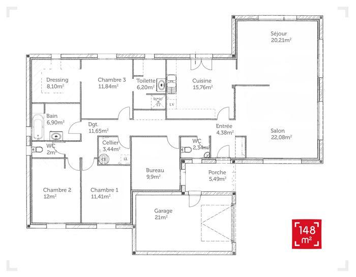 plan d'une maison d'habitation a 4 chambres