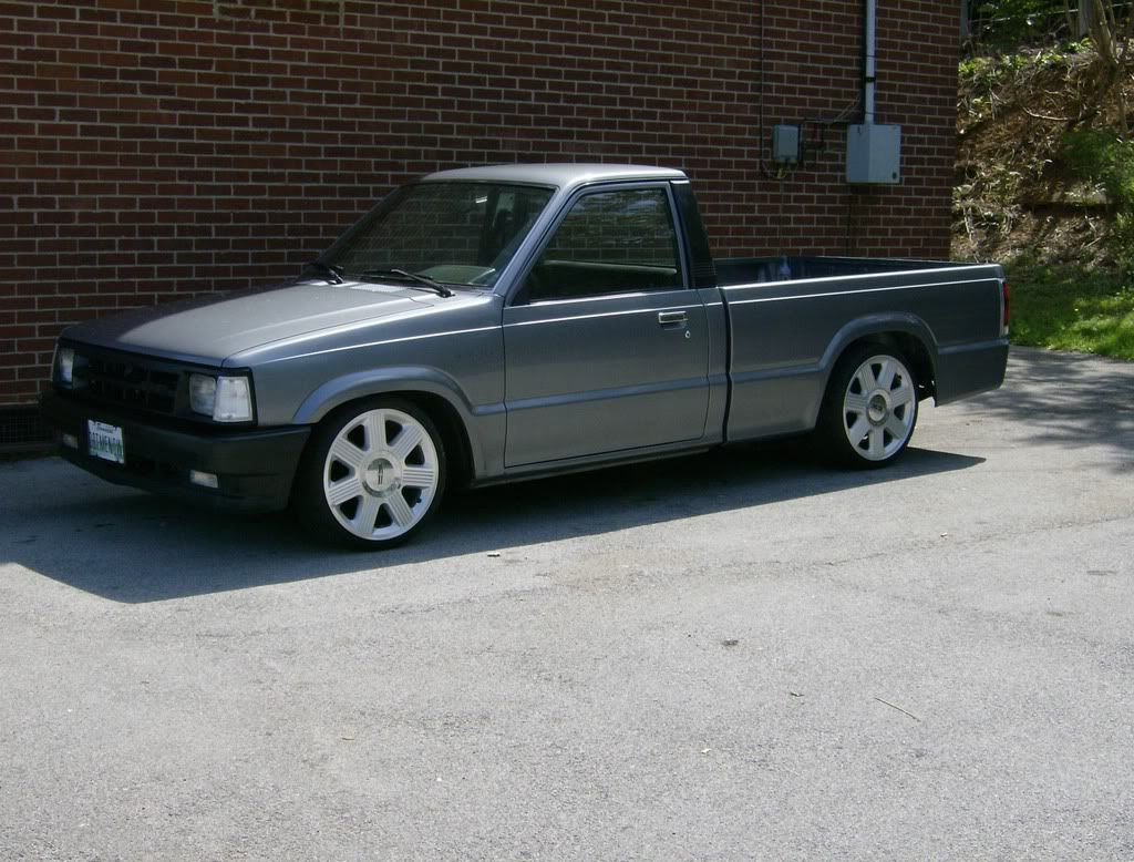 mazda b2200 had one was my 2nd ride silver tinted windows low profile tires with chrome wheels a booming system ya know a mini truck  [ 1024 x 778 Pixel ]