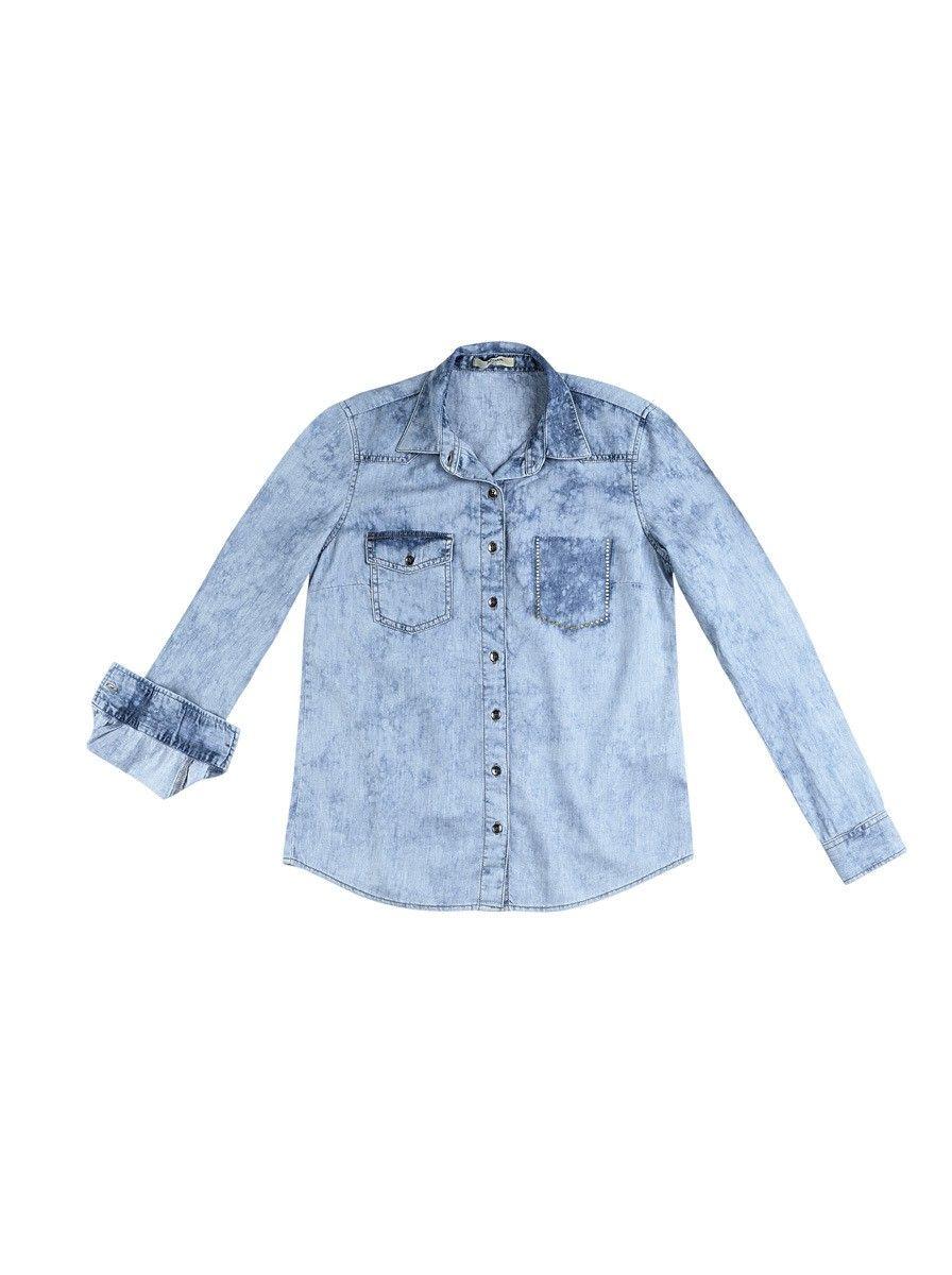 3372258ade Camisa Feminina Jeans Com Lavagem Clara