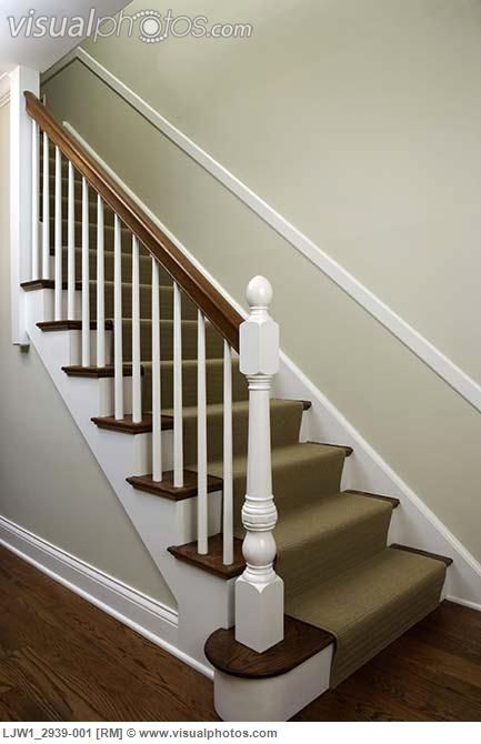 Best Stairs Traditonal Home Pale Green Walls White Wood Trim 400 x 300