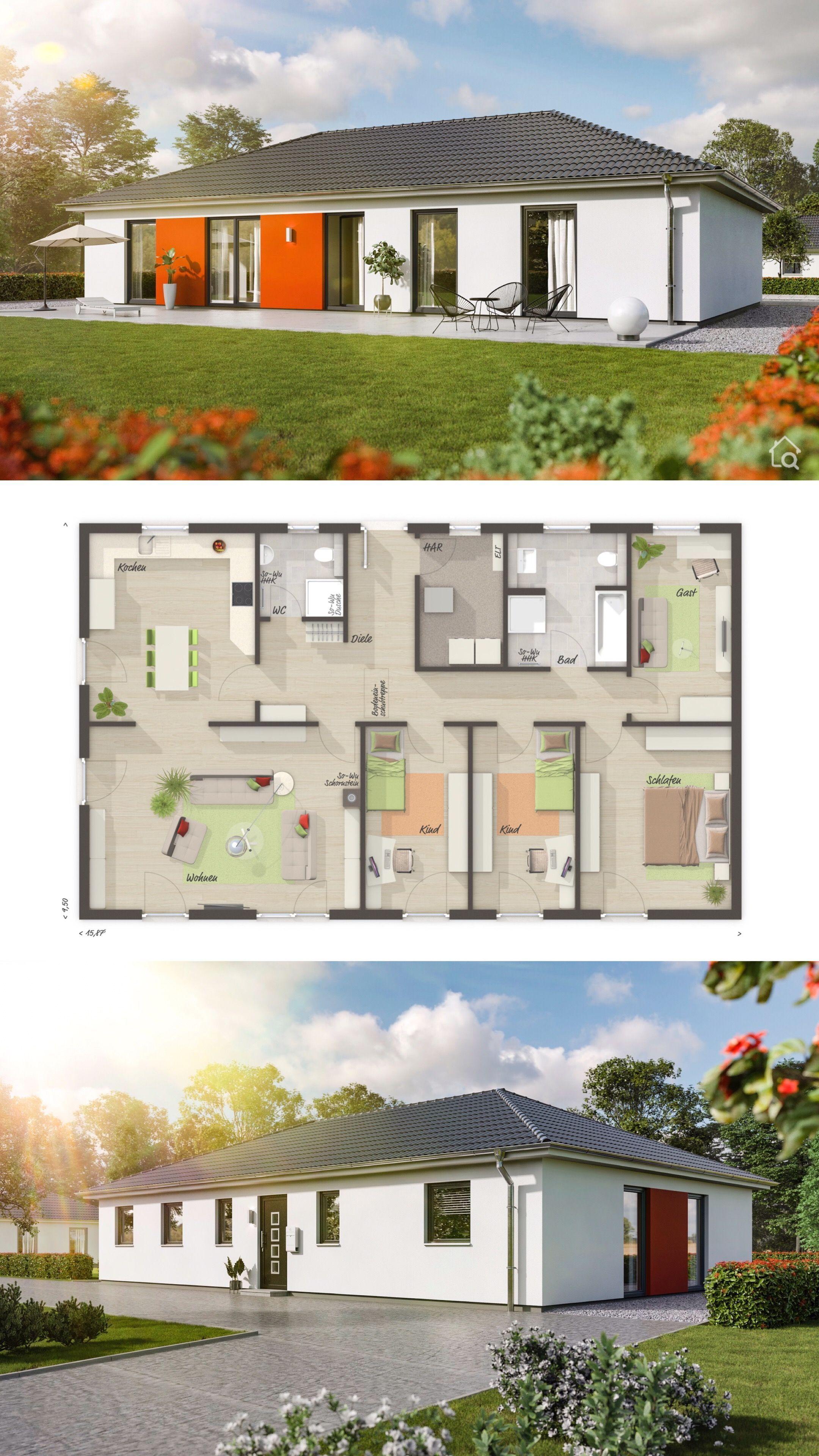 Bungalow Haus mit Walmdach & 5 Zimmer Grundriss