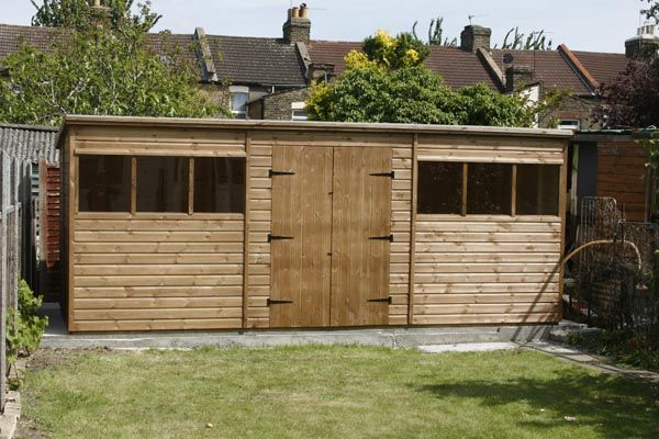 bespoke 18 x 8 pent garden shed with double doors made to go through - Garden Sheds With Lean To