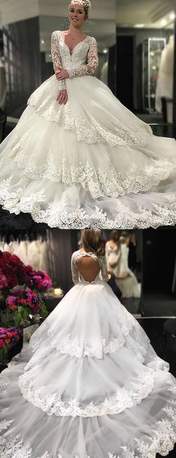 Ivory wedding dresses with sleeves  Ivory Deep VNeck Long Sheer Sleeves Lace Appliques Chapel Train