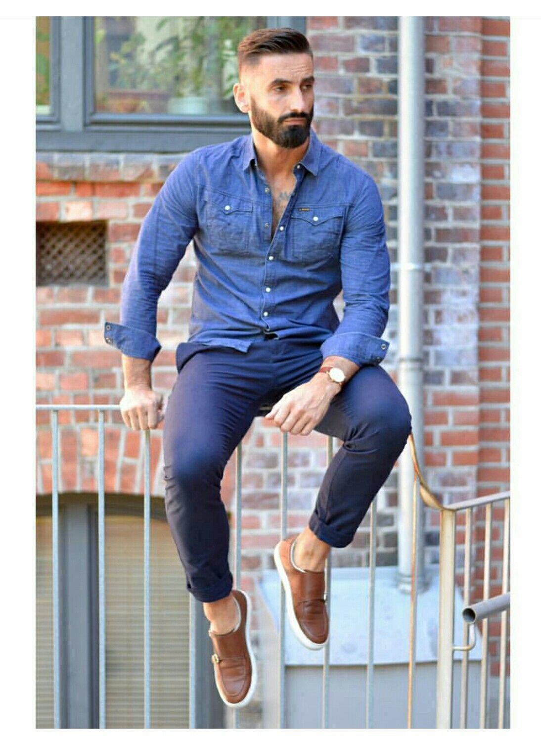 Fall casual: chambray button down + navy chinos + double monk strap ...