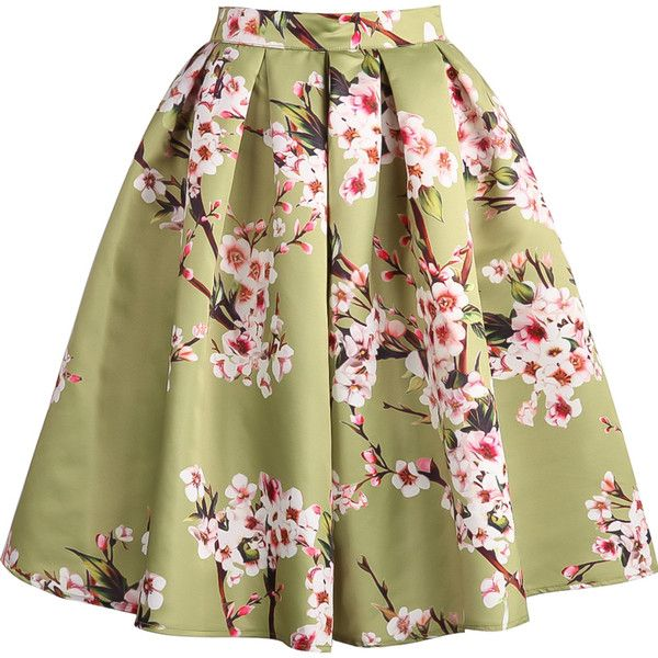 621aadbd1c Floral Pleated Green Skirt (80 RON) ❤ liked on Polyvore featuring skirts,  bottoms, floral, sheinside, green, above the knee skirts, short skirts,  flower ...