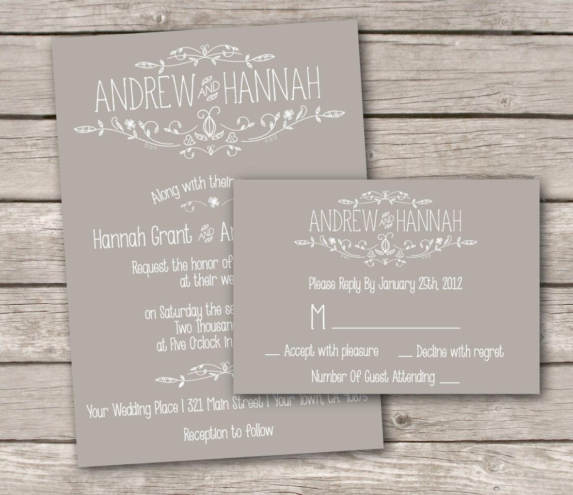 Cheap Printed Wedding Invitations: Vintage Wedding Invitation And RSVP -Printable DIY