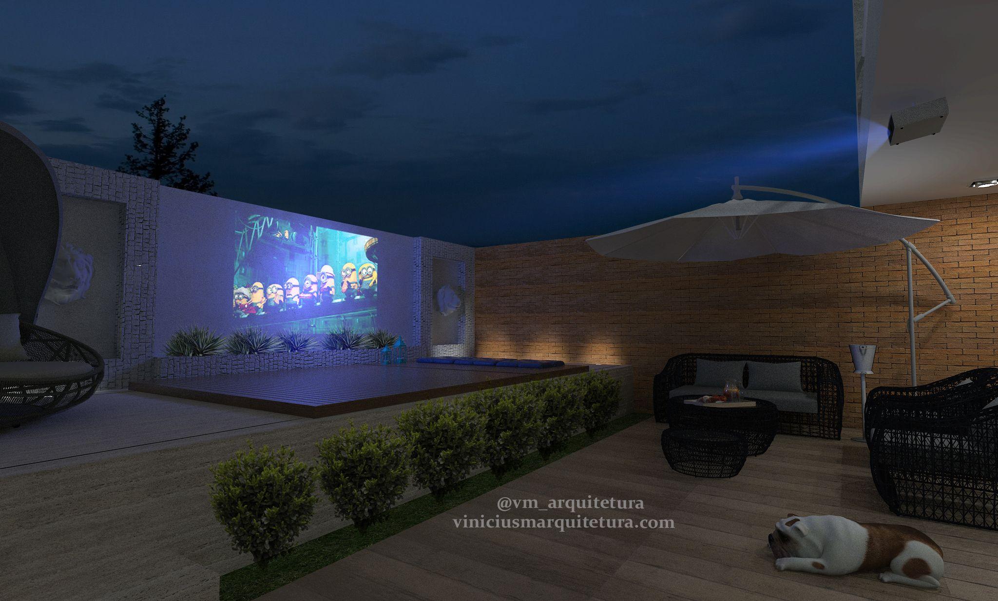 Jardim com piscina - Deck retrátil sobre a piscina com projetor no ...
