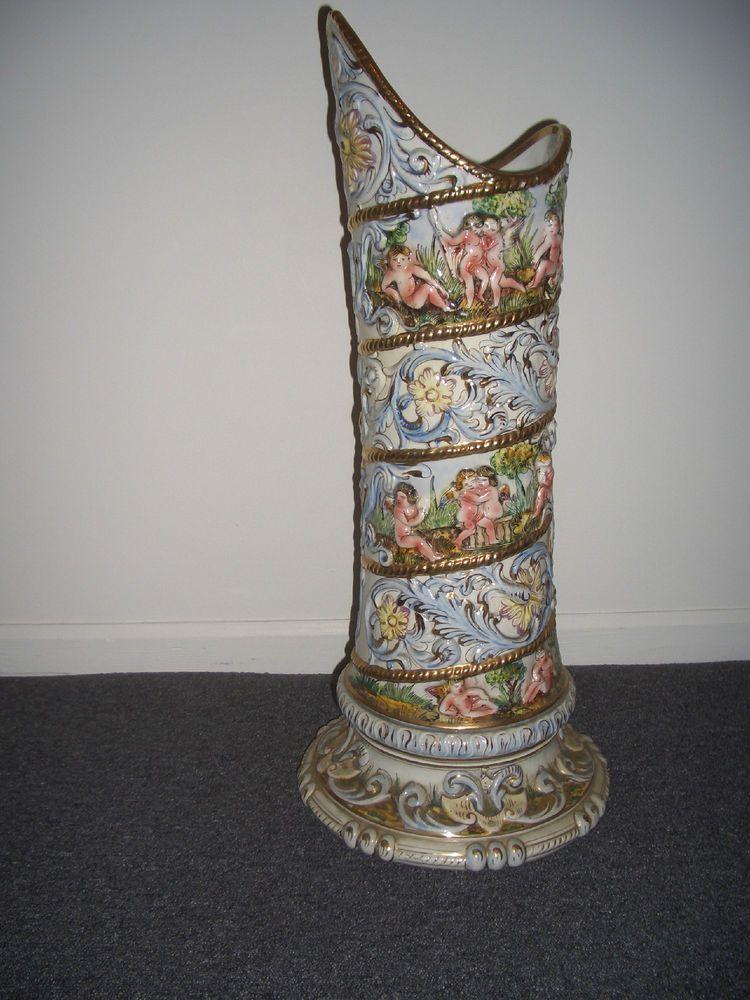 Large Signed Capodimonte Large Vase Umbrella Stand 27 High Italy