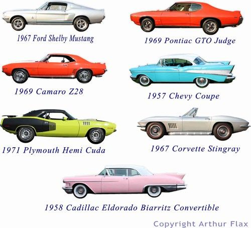 Classic Muscle Cars Set Of Two Wall Decals Stickers By Popitay - List of old cars