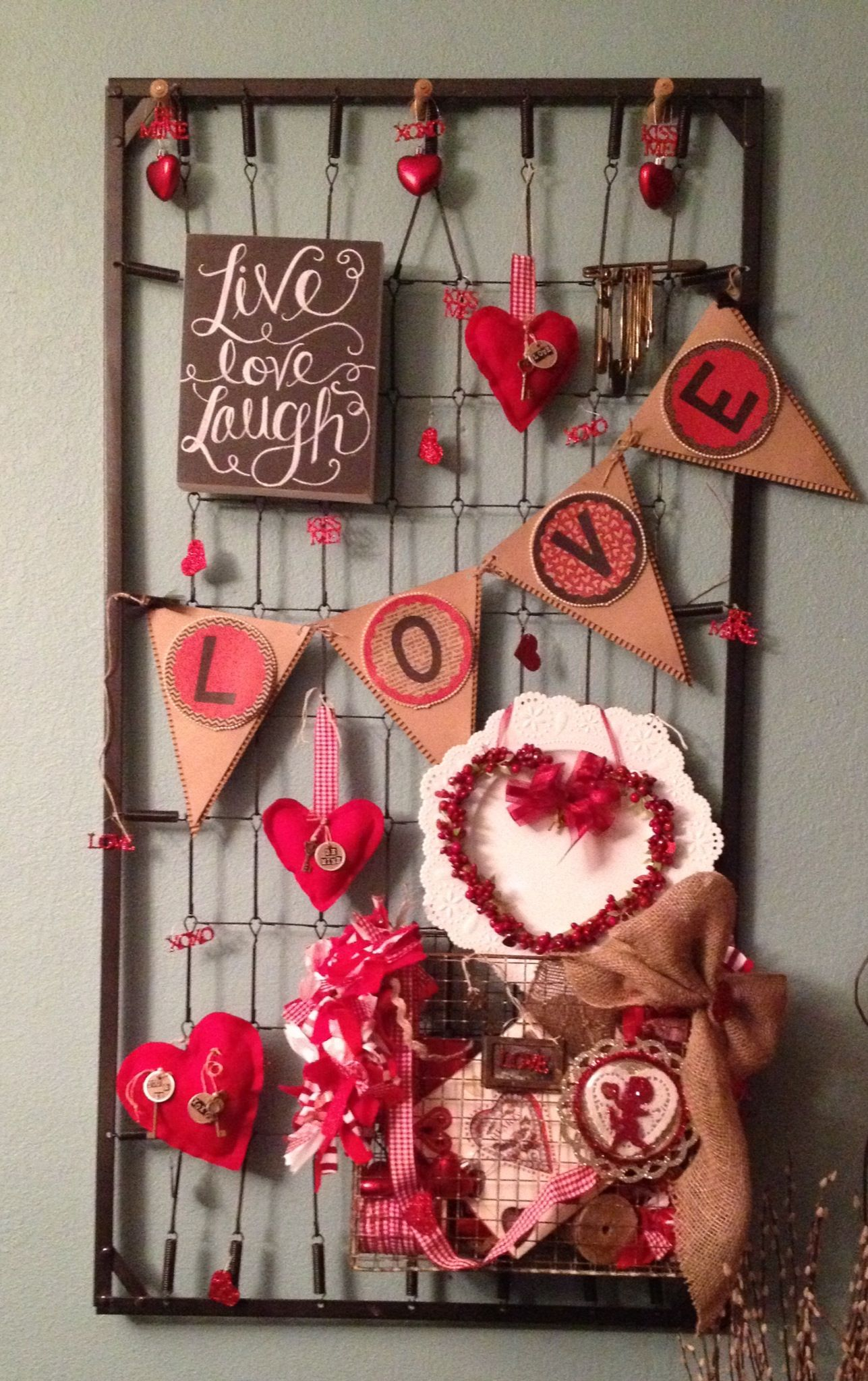 shabby chic valentines day decor baby bed spring or use old oven rack like the basket attached to it - Vintage Valentine Decorations