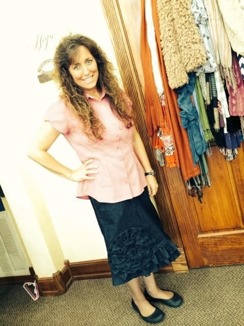 Michelle wearing a Denim Rose Ruffle made by Love My Jean Skirt ...